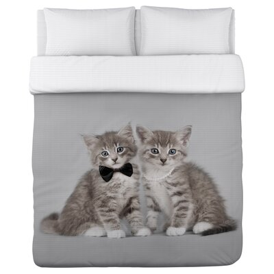 Mr and Mrs Kittens - Lightweight Duvet Cover Size: King