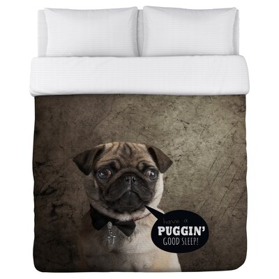 Puggin Good Sleep - Lightweight Duvet Cover Size: Full/Queen