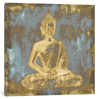 "'Meditating Buddha' Painting Print on Wrapped Canvas Size: 12"" H x 12"" W x 0.75"" D"