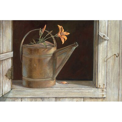 "'Favorite Watering Can' Painting Print on Canvas Size: 26"" H x 40"" W x 1.5"" D"