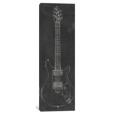 'Electric Guitar Blueprint II' Drawing Print on Canvas ESUR6694 37452462