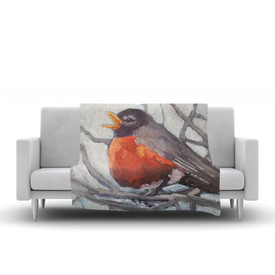 Winter Robin Throw Blanket Size: 90 L x 90 W