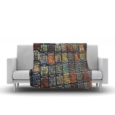 Rusted License Plates Throw Blanket Size: 90 L x 90 W