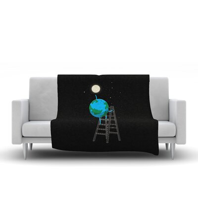 Reach the Moon Fleece Throw Blanket Size: 80