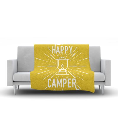 Happy Camper Throw Blanket Size: 90 L x 90 W