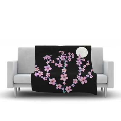Cherry Blossom at Night Fleece Throw Blanket Size: 90 L x 90 W
