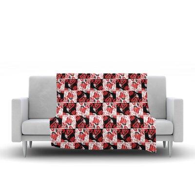 Flowers Fleece Throw Blanket Size: 90 L x 90 W