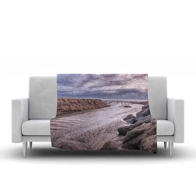 Clouds Over Carlsbad Beach Fleece Throw Blanket Size: 90 L x 90 W