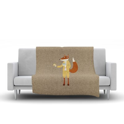 Mr Fox Takes Tea Fleece Throw Blanket Size: 80 L x 60 W