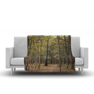 Forest Trees by Sylvia Coomes Fleece Blanket Size: 80 L x 60 W