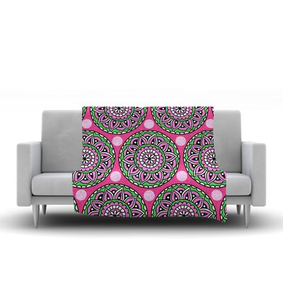Watermelon Mandala Fleece Throw Blanket Size: 60 L x 50 W