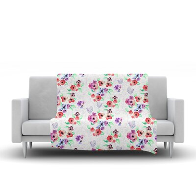 Flowers and Birds Fleece Throw Blanket Size: 90 L x 90 W