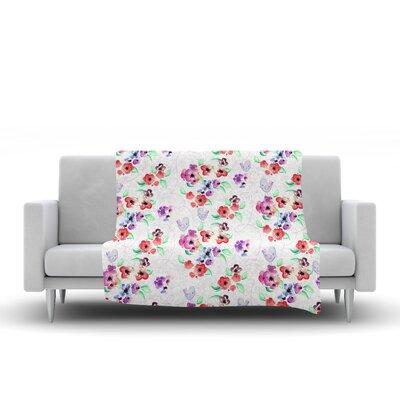 Spring Flowers and Birds Fleece Throw Blanket Size: 60 L x 50 W