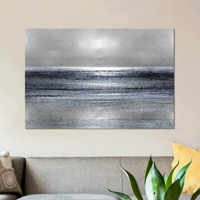 'Silver Seascape III' Graphic Art Print on Canvas