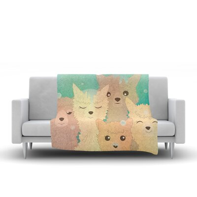 Alpacas in Snow Fleece Throw Blanket Size: 60 L x 50 W