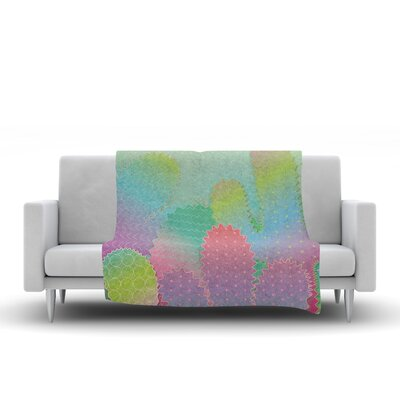 Colorful Cacti Garden Fleece Throw Blanket Size: 90 L x 90 W