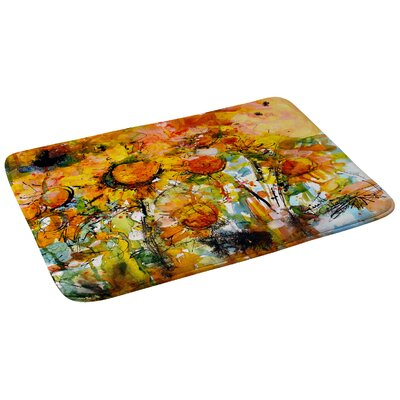 Ginette Fine Art Abstract Sunflowers Bath Rug