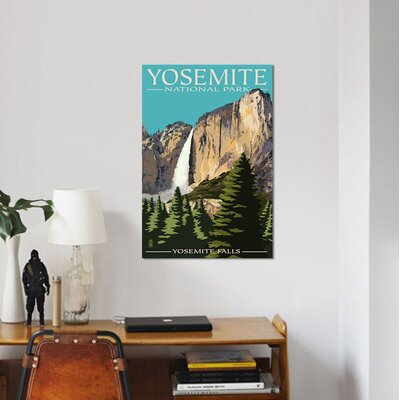 "'U.S. National Park Service Series: Yosemite National Park (Yosemite Falls II)' Vintage Advertisement on Canvas Size: 18"" H x 12"" W x 1.5"" D ESUR8474 37470581"