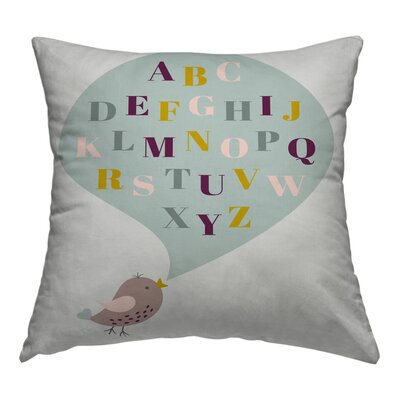 Bird ABC Throw Pillow Size: 16 H x 16 W x 1.5 D