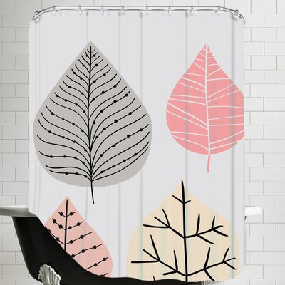 Leaves Grey Shower Curtain