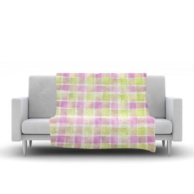 Watercolour Check Tartan by Michelle Drew Fleece Blanket Size: 60 L x 50 W