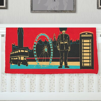 London England by Famenxt Fleece Throw Blanket Size: 40 H x 30 W
