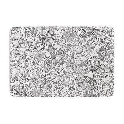 My Butterflies and Flowers in Black by Julia Grifol Memory Foam Bath Mat