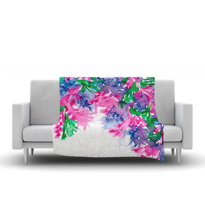 Floral Cascade by Ebi Emporium Fleece Blanket Color: Pink/Green