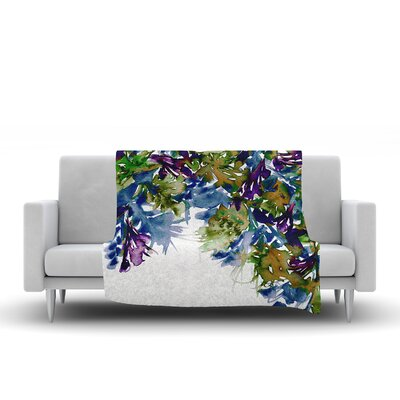 Floral Cascade by Ebi Emporium Fleece Blanket Color: Blue/Purple