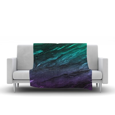 Throw Blanket Size: 90 L x 90 W, Color: Green/Plum/Ombre