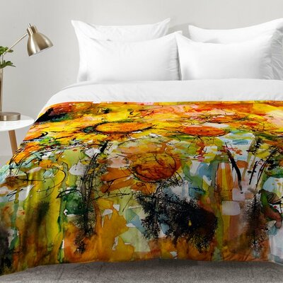 Ginette Fine Art Abstract Sunflowers Comforter Set Size: King