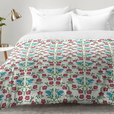 Love and Peace Floral Bird Pattern Comforter Set Size: King