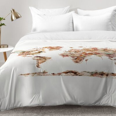 Brian Buckley World Map Watercolor Comforter Set Size: King