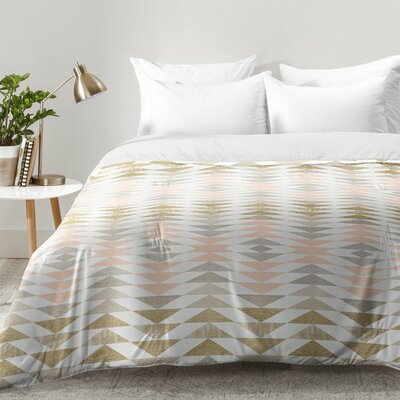 Metallic Triangles Comforter Set Size: Full/Queen
