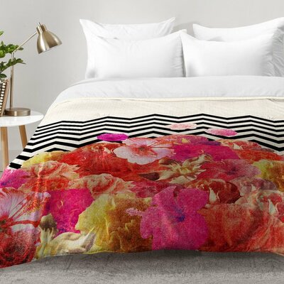 Chevron Flora 2 Comforter Set Size: King