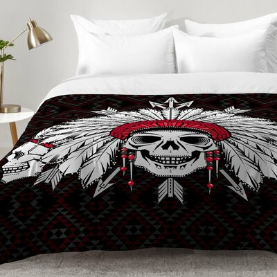 Geometric Indian Skull Comforter Set Size: Full/Queen