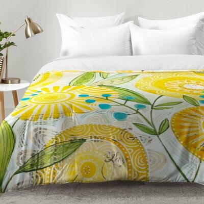 Sun Burst Flowers Comforter Set Size: King
