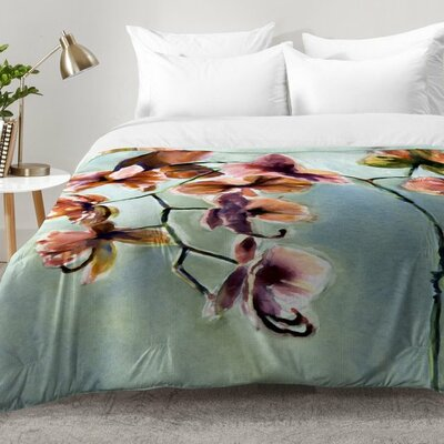 Laura Trevey Orchids Comforter Set Size: Twin XL