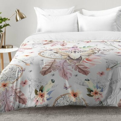 Bohemian Dreamcatcher and Skull Floral Comforter Set Size: King