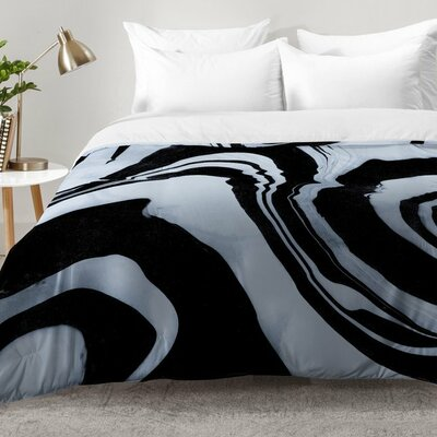 Marble Structure Comforter Set Size: King, Color: Black
