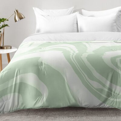 Susanne Kasielke Marble Structure Comforter Set Size: King, Color: Green