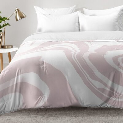 Marble Structure Comforter Set Size: Full/Queen, Color: Pink