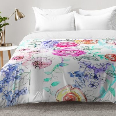 Pastel Rose Garden 02 Comforter Set Size: Full/Queen