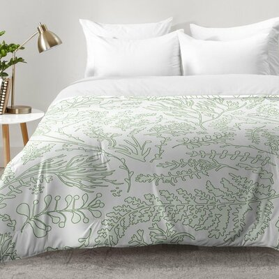 Herbs and Ferns Comforter Set Size: Full/Queen, Color: Green