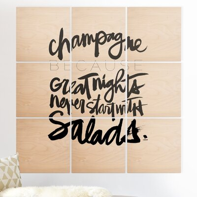 'Champagne BW' Textual Art Multi-Piece Image on Wood EUHH6598 37908728