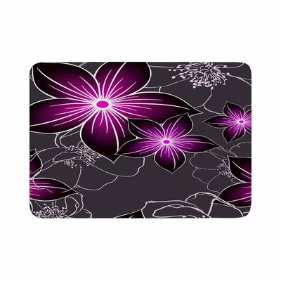 Floral by Alison Coxon Memory Foam Bath Mat Color: Charcoal/Amethyst