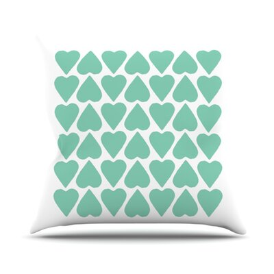 Up and Down Hearts by Project M Outdoor Throw Pillow Color: White