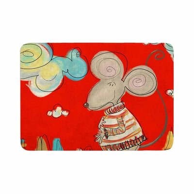 Carina Povarchik Urban Mouse Memory Foam Bath Rug Size: 0.5 H x 17 W x 24 D, Color: Red/Teal