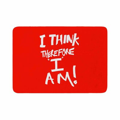 Bruce Stanfield I Think, Therefore I Am Typography Memory Foam Bath Rug Size: 0.5 H x 24 W x 36 D, Color: Red/White