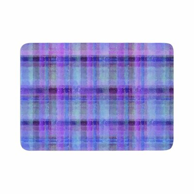 Carolyn Greifeld Watercolor Plaid Pattern Memory Foam Bath Rug Size: 0.5 H x 24 W x 36 D, Color: Blue/Purple